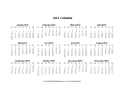2016 Calendar on one page (horizontal, holidays in red) calendar