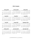 2016 Calendar one page with Large Print (vertical) calendar