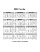 2016 Calendar on one page (vertical, months run across page, week starts on Monday) calendar