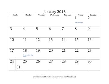 Printable January 2016 Calendar