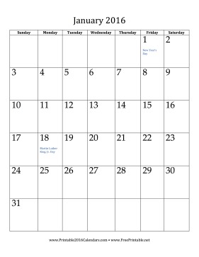 picture about Vertical Calendar Printable identified as Printable January 2016 Calendar (vertical)