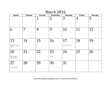 printable march 2016 calendar