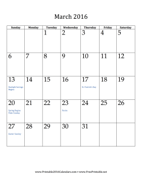 March 2016 Calendar (vertical) Calendar