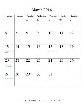 printable march 2016 calendar vertical