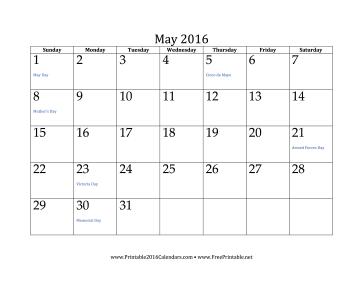 printable may 2016 calendar