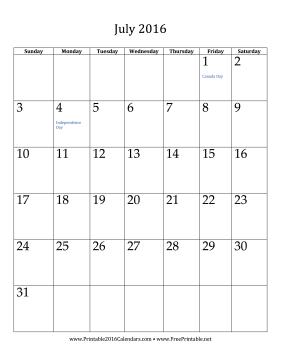 july 2016 calendar printable template .