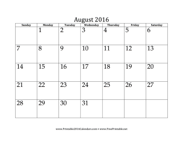 August Calendar Template 2016 from www.printable2016calendars.com