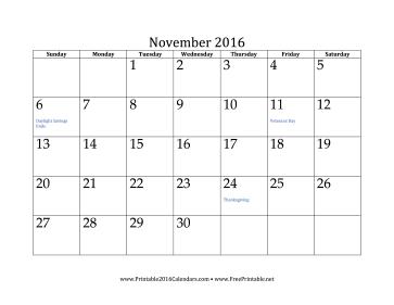 November 2016 Calendar Calendar