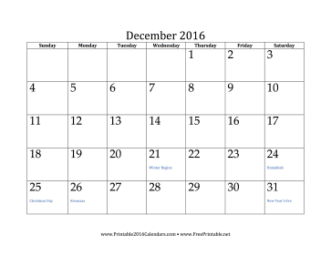 2016 Customizable Monthly Designer Calendar With Holidays | Blank ...