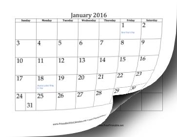 printable 2016 calendar 12 pages