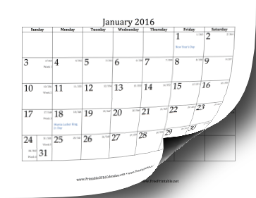 2016 Calendar with day-of-year and days-remaining-in-year Calendar
