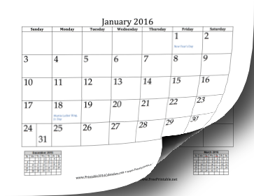 printable 2016 mini month calendar