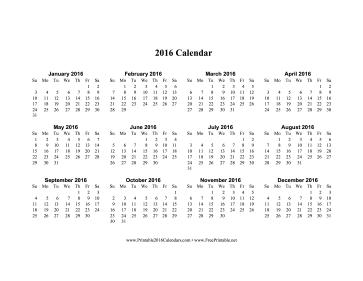printable 2016 calendar on one page horizontal
