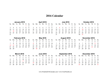 2016 Calendar (horizontal, descending, holidays in red) Calendar