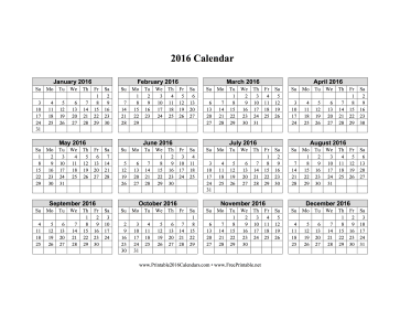 2016 Calendar on one page (horizontal grid) Calendar