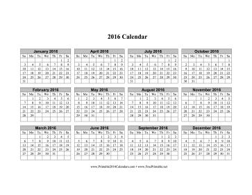 2016 Calendar (horizontal grid, descending) Calendar