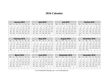2016 Calendar on one page (horizontal, week starts on Monday) Calendar