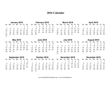 2016 Calendar one page with Large Print Calendar