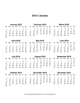 printable 2016 calendar one page with large print vertical