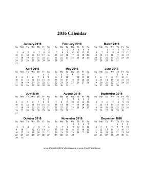 2016 Calendar on one page (vertical) Calendar