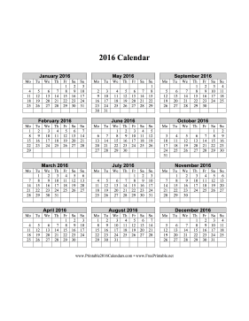 2016 Calendar on one page (vertical, week starts on Monday) Calendar