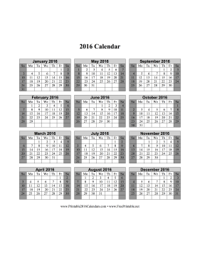 2016 Calendar on one page (vertical, shaded weekends) Calendar