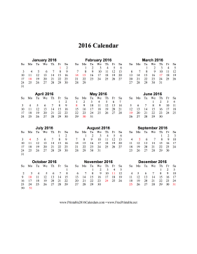 2016 Calendar on one page (vertical, holidays in red) Calendar