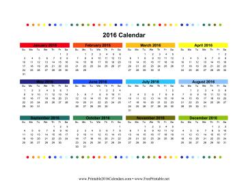 2016 Colorful Calendar Calendar
