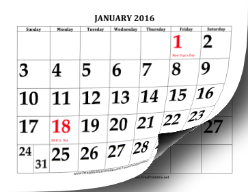 Printable 2016 Calendar with Large Print