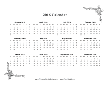 photograph about Printable Calendar on One Page named Printable 2016 A person Web page Calendar With Bouquets