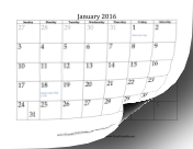 2016 Calendar with dates of adjacent months in gray calendar