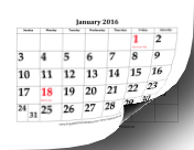 2016 Calendar with Large Dates calendar